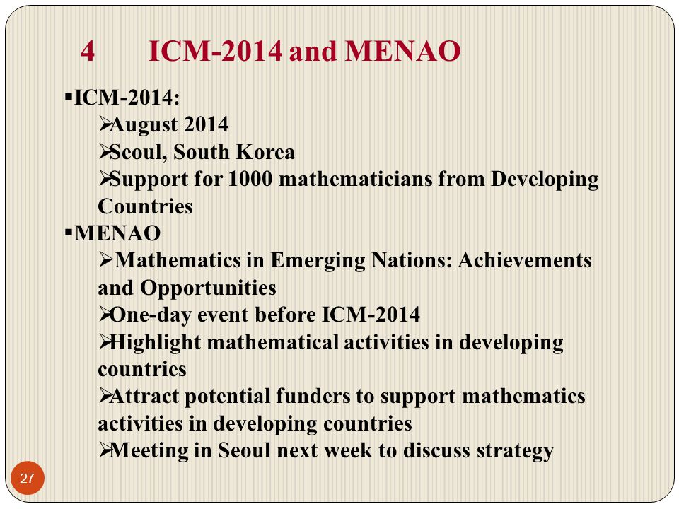4 ICM-2014 and MENAO ICM-2014: August 2014 Seoul, South Korea