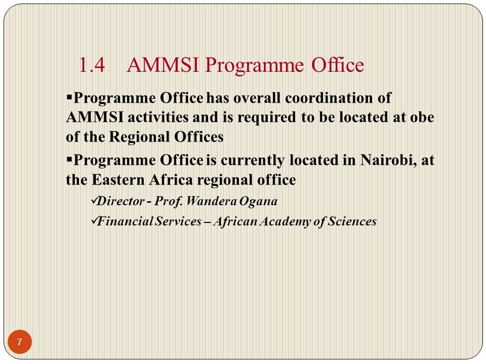 1.4 AMMSI Programme Office
