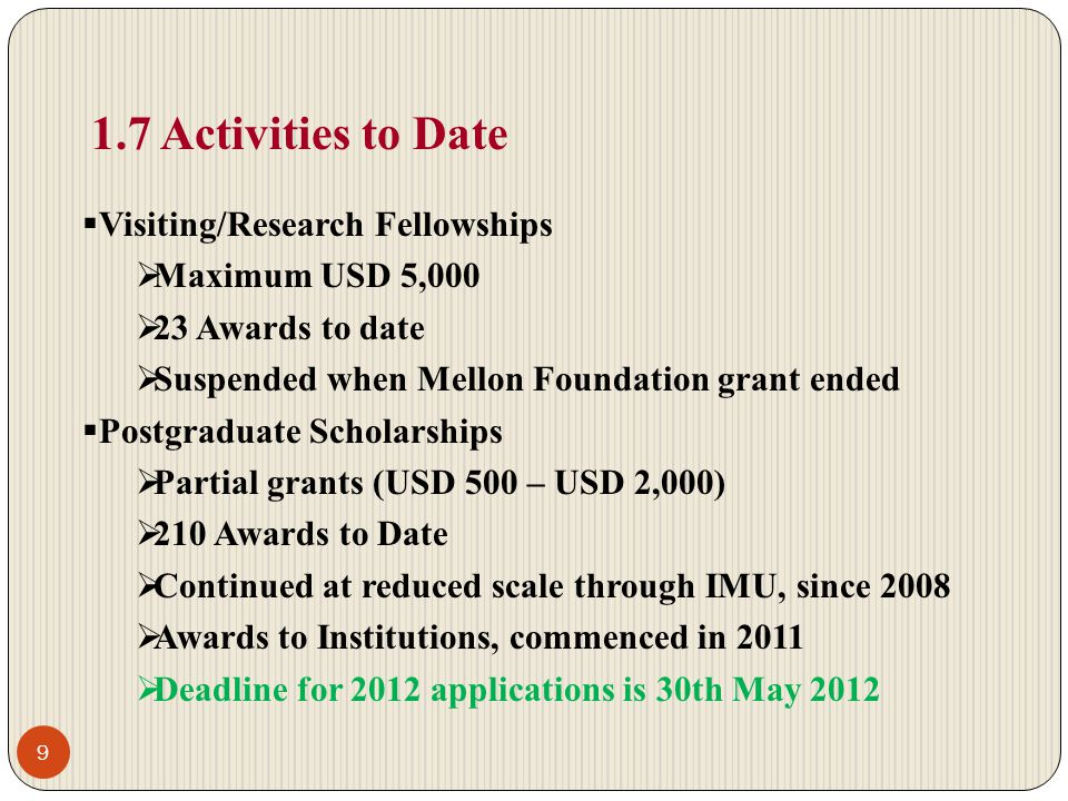 1.7 Activities to Date Visiting/Research Fellowships Maximum USD 5,000