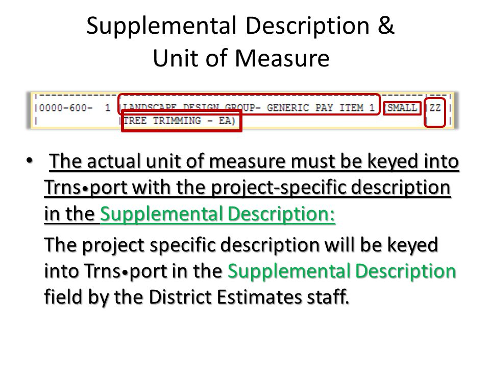 Supplemental Description & Unit of Measure