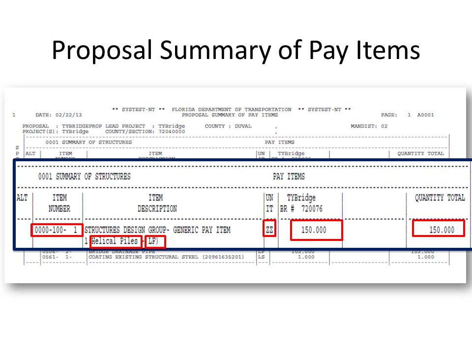 Proposal Summary of Pay Items