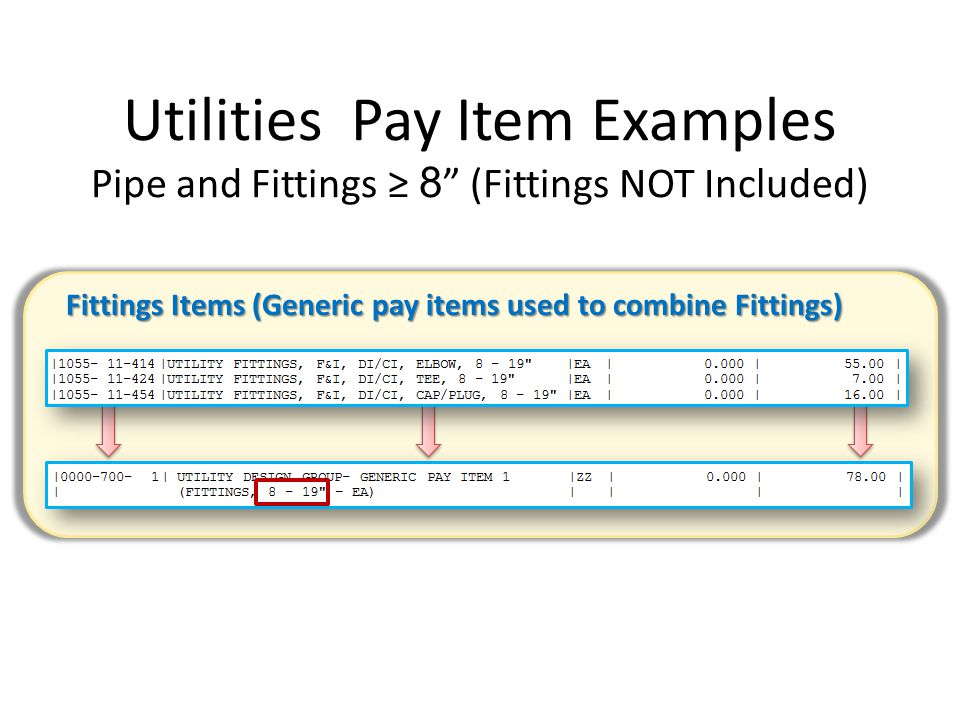 Utilities Pay Item Examples Pipe and Fittings ≥ 8 (Fittings NOT Included)