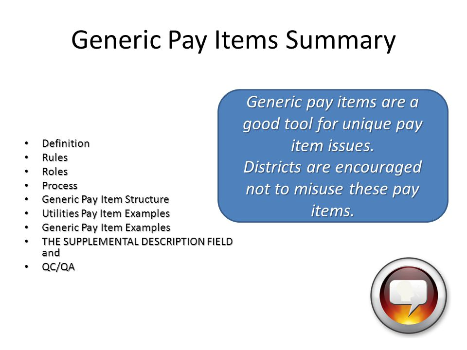 Generic Pay Items Summary