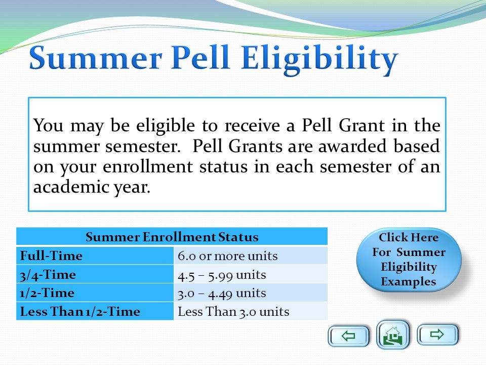 Summer Pell Eligibility