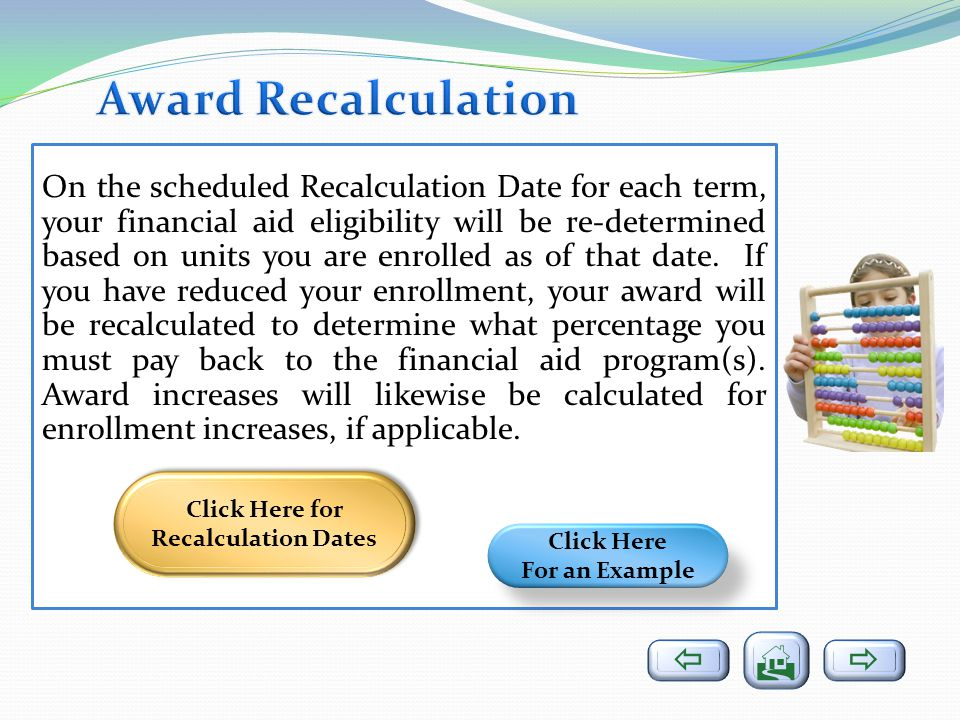 Click Here for Recalculation Dates