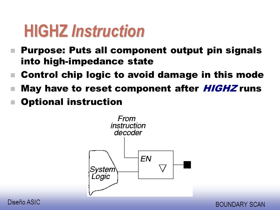 HIGHZ Instruction Purpose: Puts all component output pin signals into high-impedance state. Control chip logic to avoid damage in this mode.