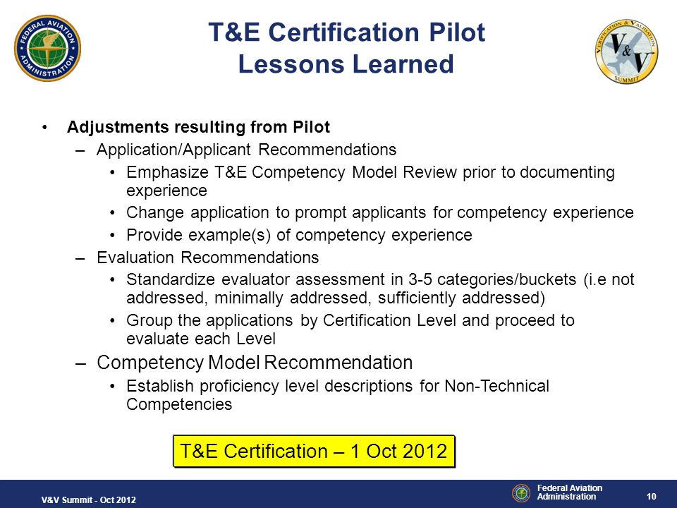 T&E Certification Pilot Lessons Learned