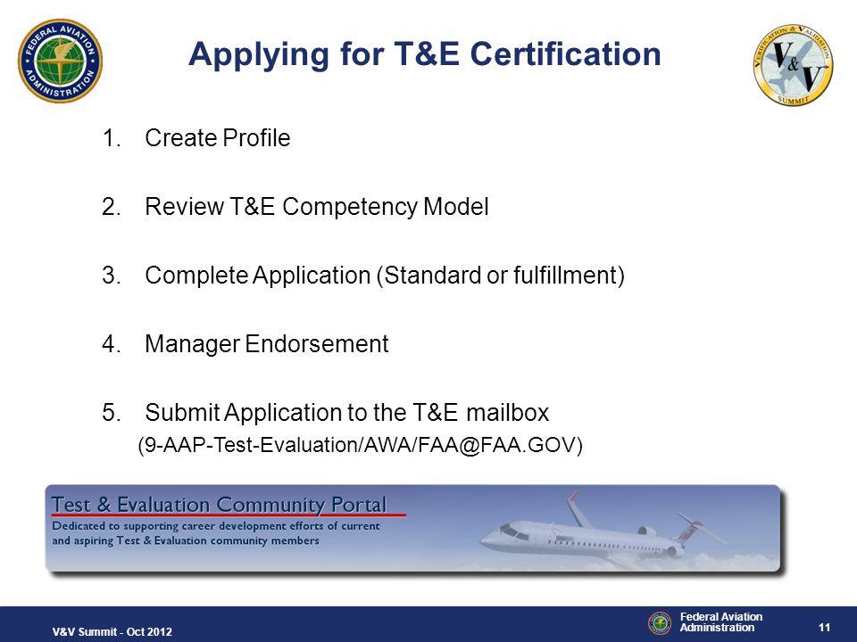 Applying for T&E Certification