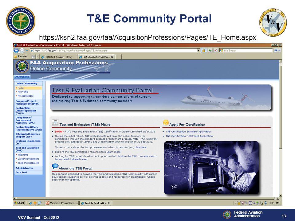 T&E Community Portal https://ksn2.faa.gov/faa/AcquisitionProfessions/Pages/TE_Home.aspx