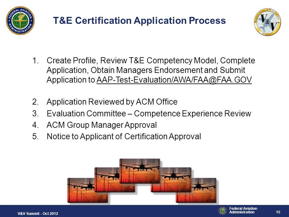 T&E Certification Application Process