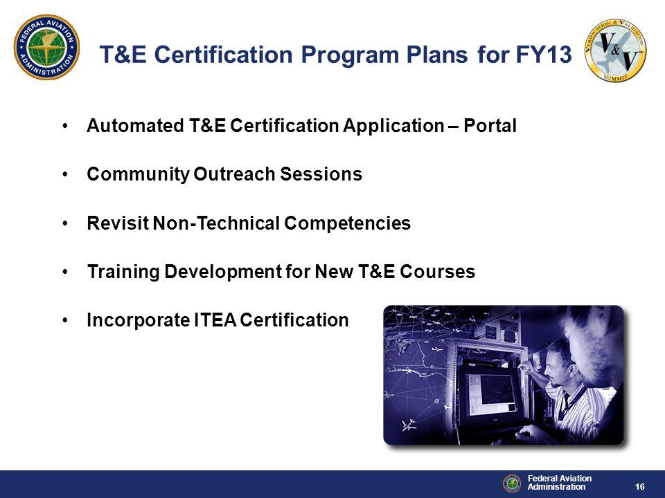 T&E Certification Program Plans for FY13