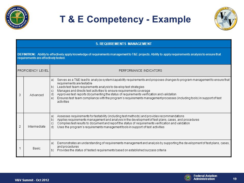 T & E Competency - Example