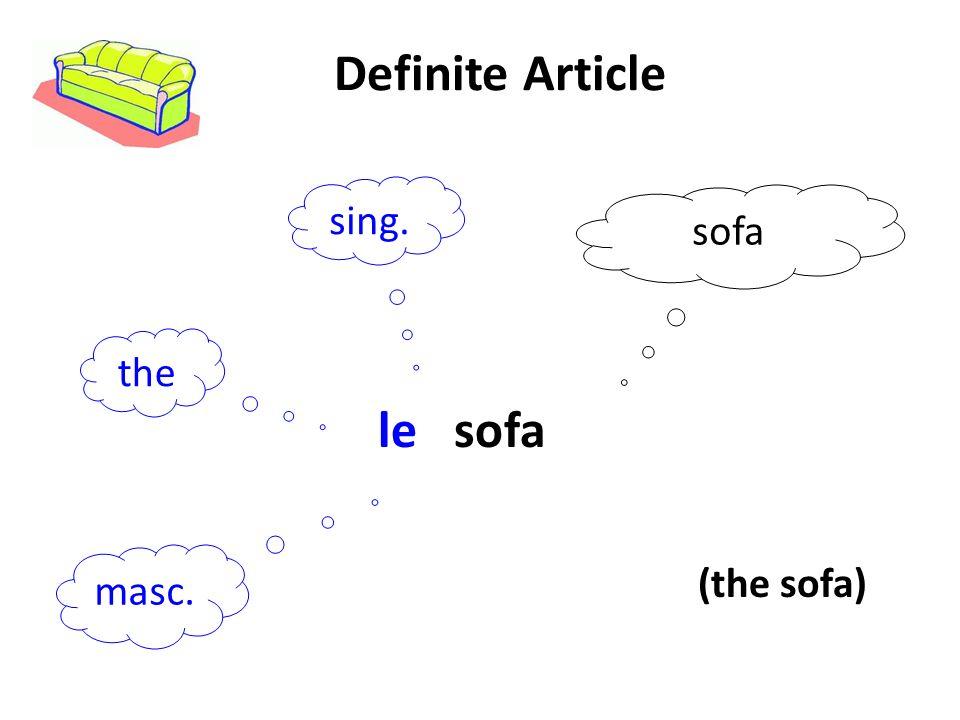 Definite Article sing. sofa the le sofa masc. (the sofa)