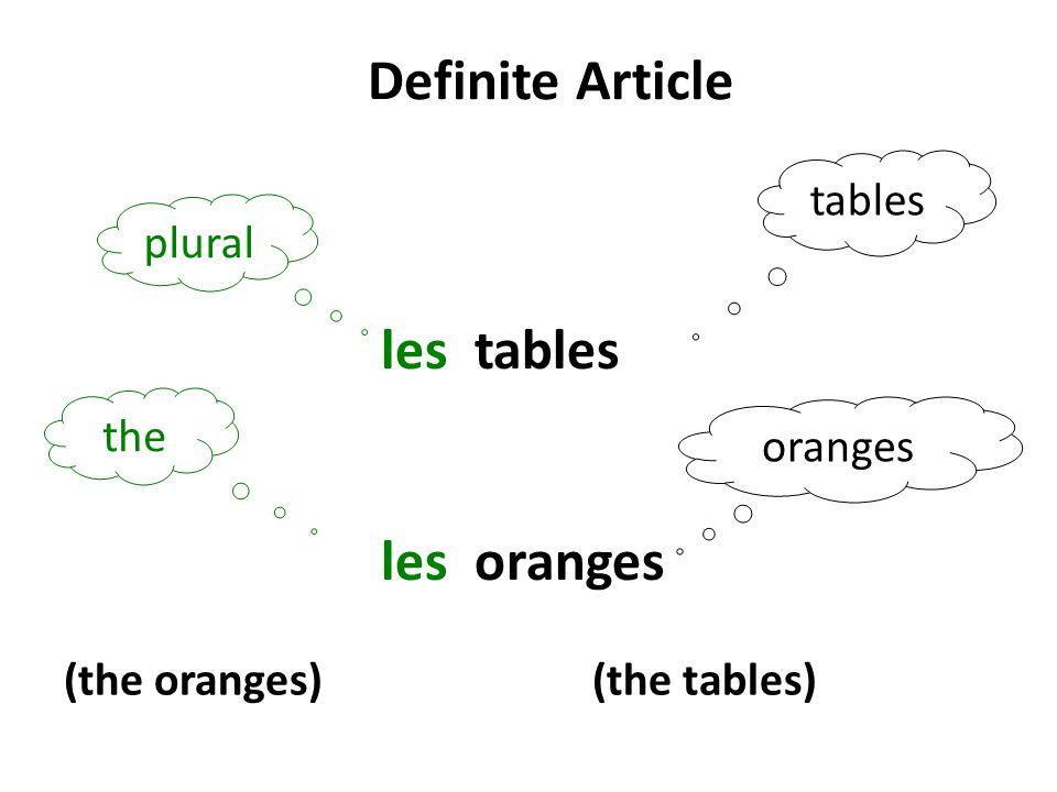 Definite Article les tables les oranges tables plural the oranges