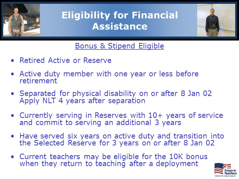 Eligibility for Financial Assistance