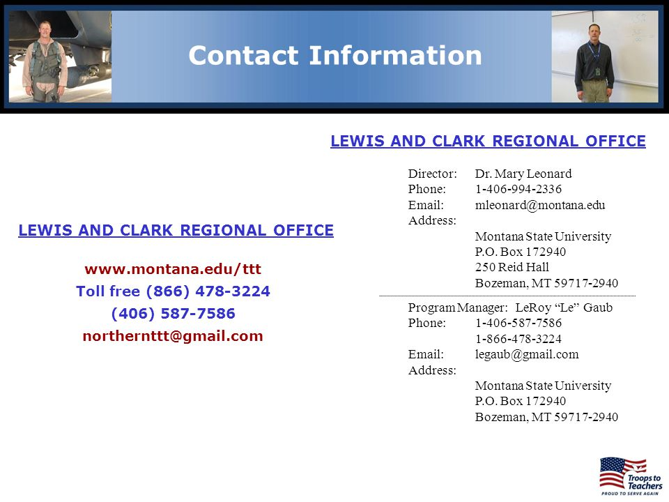 Lewis and Clark Region Contact Information. LEWIS AND CLARK REGIONAL OFFICE. Director: Dr. Mary Leonard.