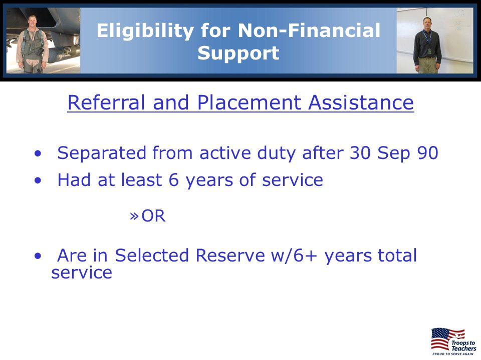Eligibility for Non-Financial Support