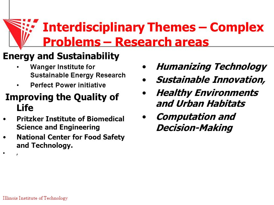 Interdisciplinary Themes – Complex Problems – Research areas
