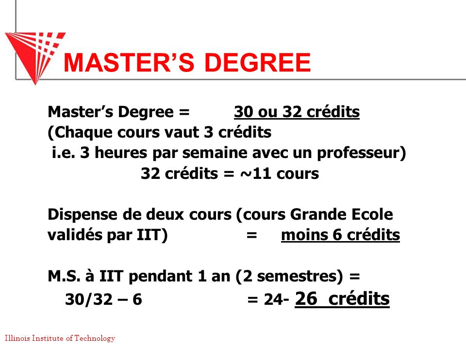 MASTER'S DEGREE Master's Degree = 30 ou 32 crédits