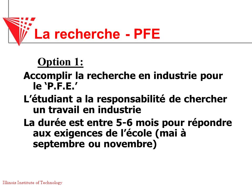 La recherche - PFE Option 1: