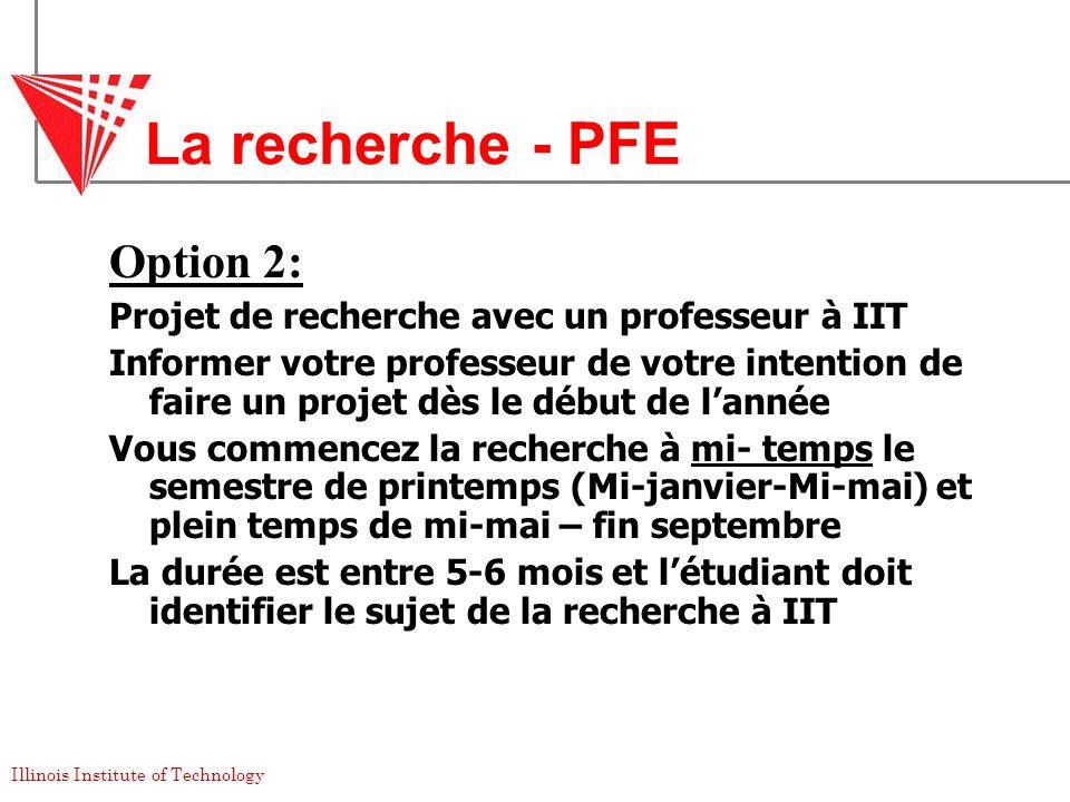 La recherche - PFE Option 2: