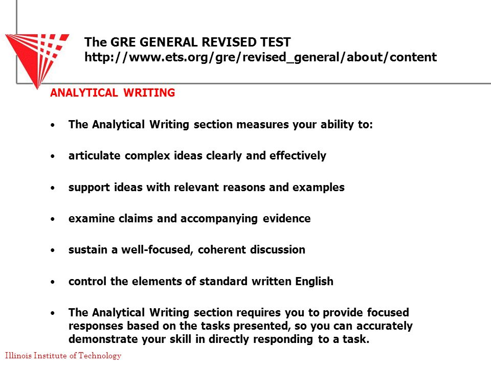 The GRE GENERAL REVISED TEST http://www. ets