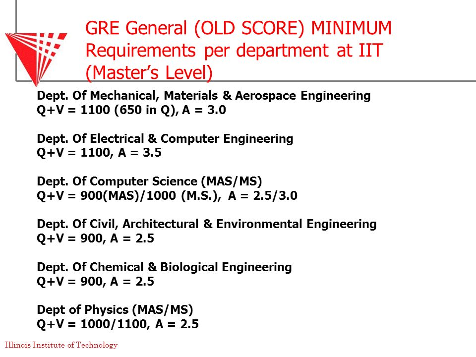 GRE General (OLD SCORE) MINIMUM Requirements per department at IIT (Master's Level)
