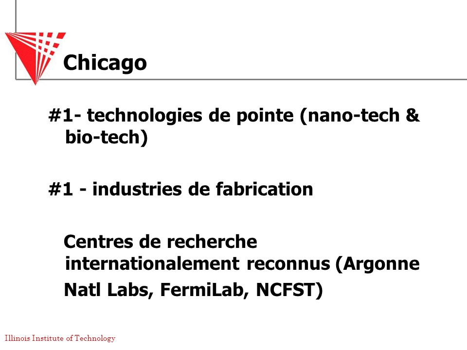 Chicago #1- technologies de pointe (nano-tech & bio-tech)