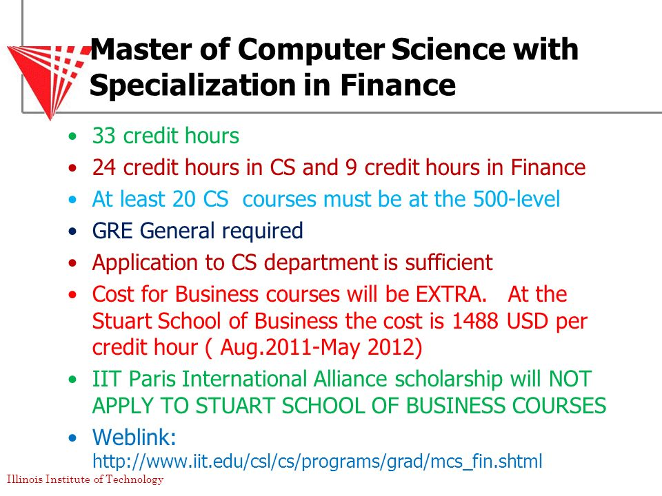 Master of Computer Science with Specialization in Finance