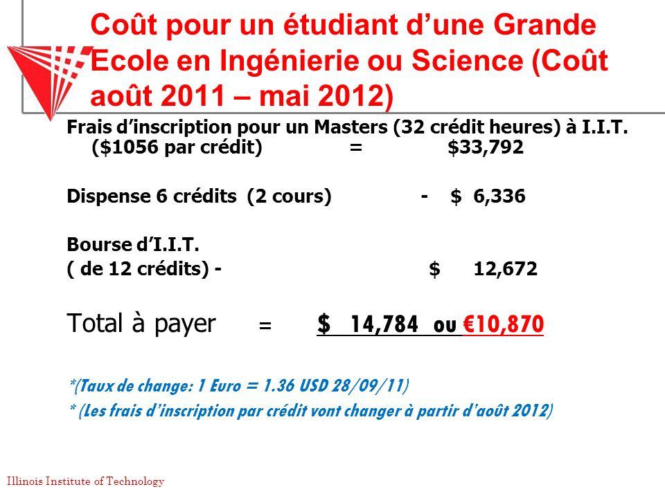 Coût pour un étudiant d'une Grande Ecole en Ingénierie ou Science (Coût août 2011 – mai 2012)