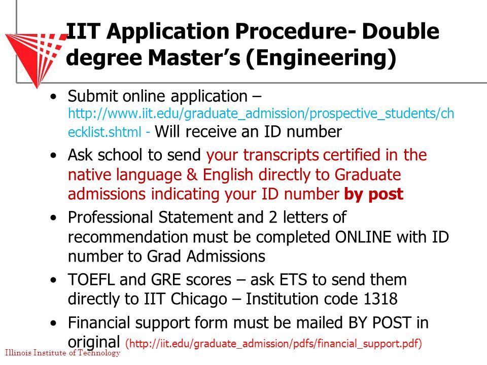 IIT Application Procedure- Double degree Master's (Engineering)