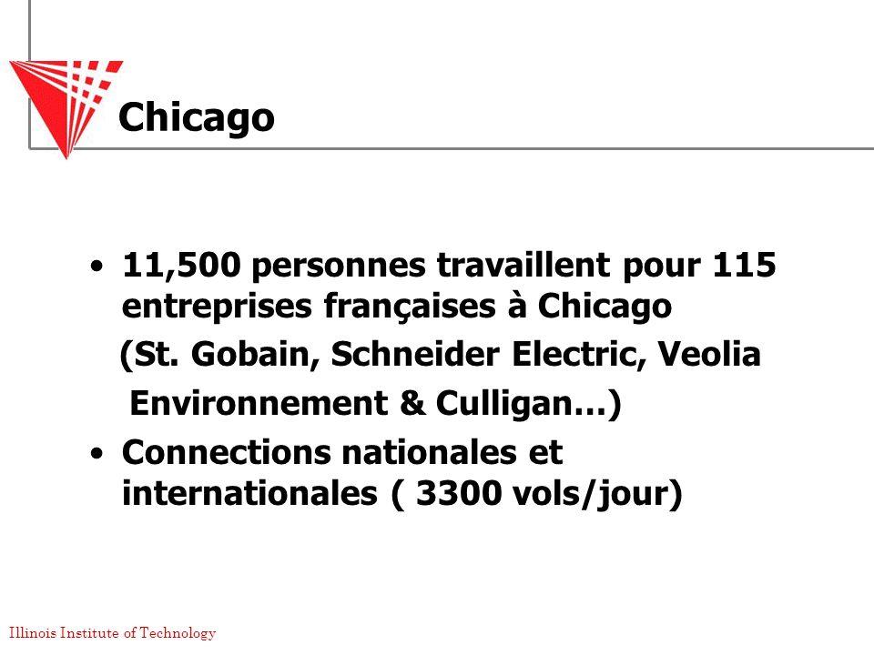Chicago 11,500 personnes travaillent pour 115 entreprises françaises à Chicago. (St. Gobain, Schneider Electric, Veolia.
