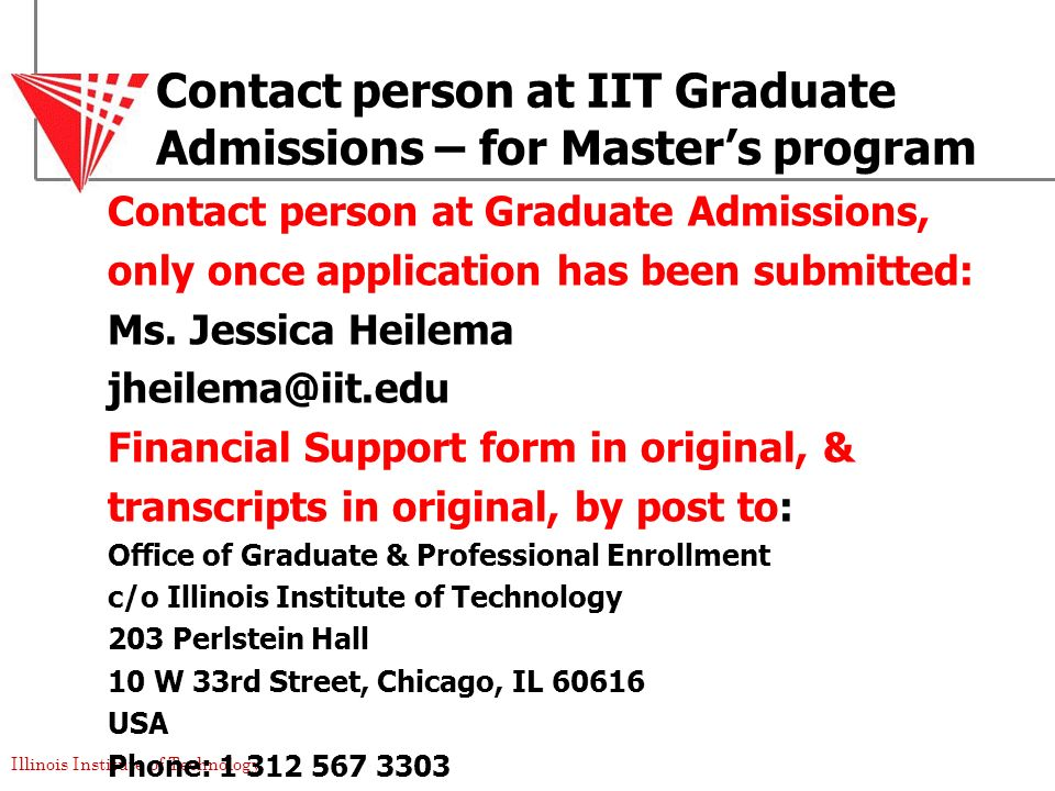 Contact person at IIT Graduate Admissions – for Master's program