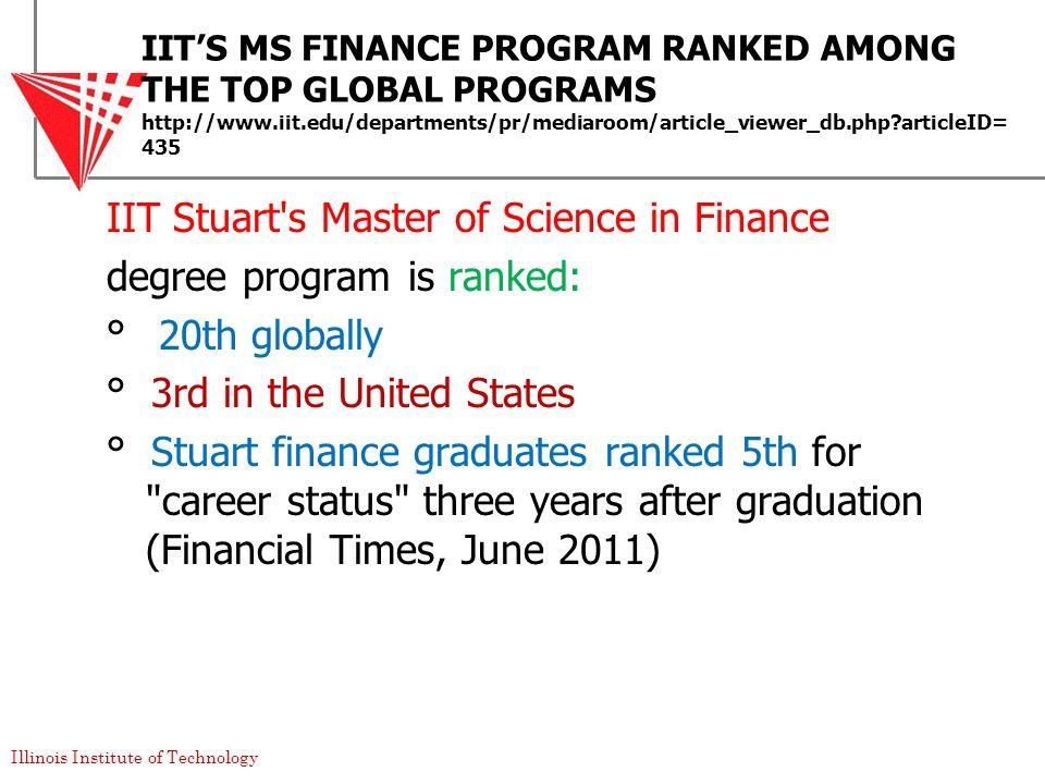 IIT'S MS FINANCE PROGRAM RANKED AMONG THE TOP GLOBAL PROGRAMS http://www.iit.edu/departments/pr/mediaroom/article_viewer_db.php articleID=435