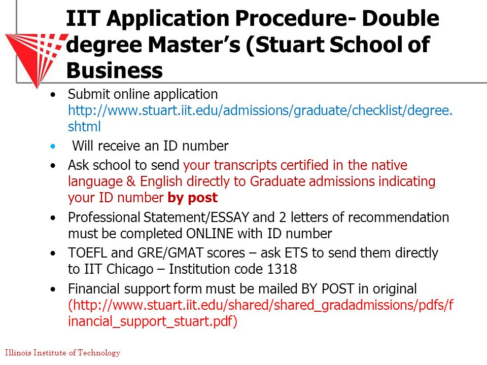 IIT Application Procedure- Double degree Master's (Stuart School of Business
