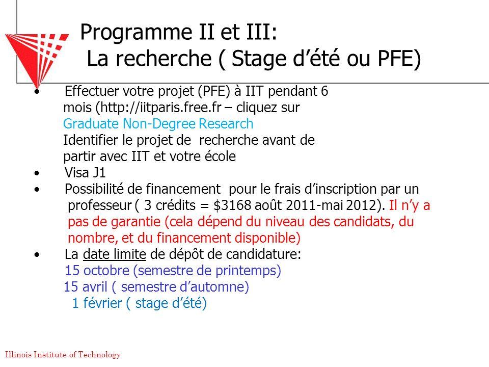Programme II et III: La recherche ( Stage d'été ou PFE)
