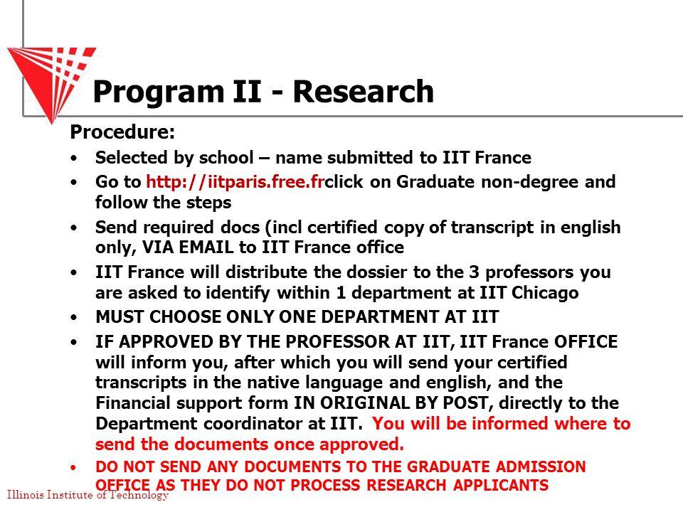 Program II - Research Procedure:
