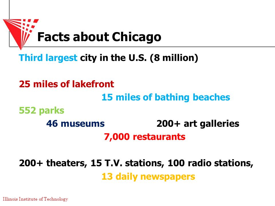 Facts about Chicago Third largest city in the U.S. (8 million)