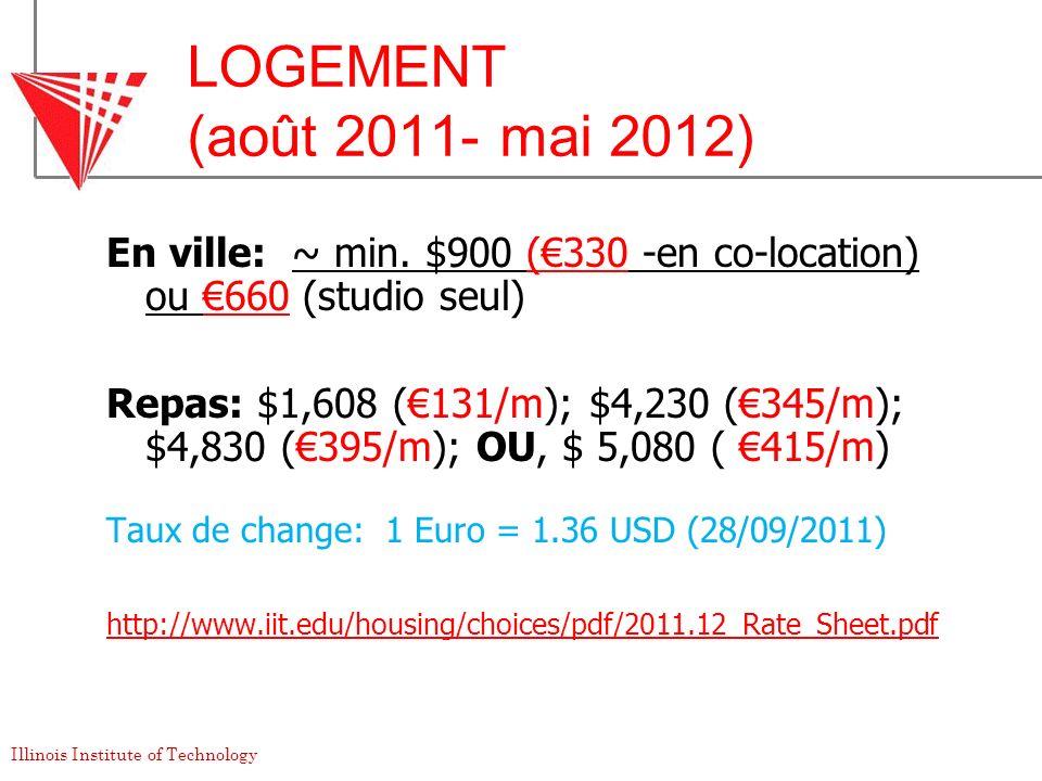 LOGEMENT (août 2011- mai 2012) En ville: ~ min. $900 (€330 -en co-location) ou €660 (studio seul)