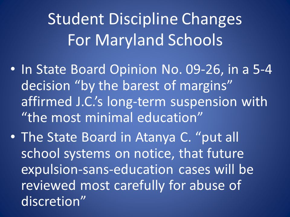 Student Discipline Changes For Maryland Schools
