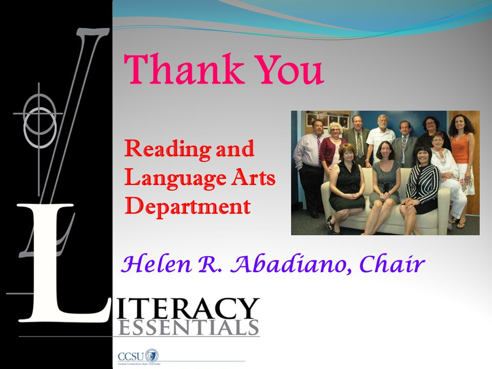 Thank You Reading and Language Arts Department