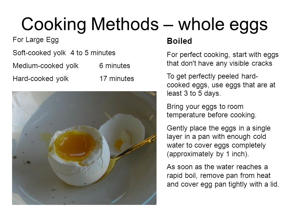 Cooking Methods – whole eggs