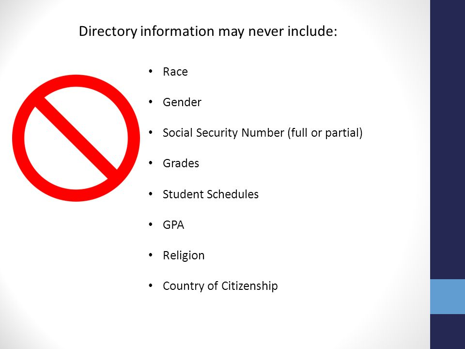 Directory information may never include: