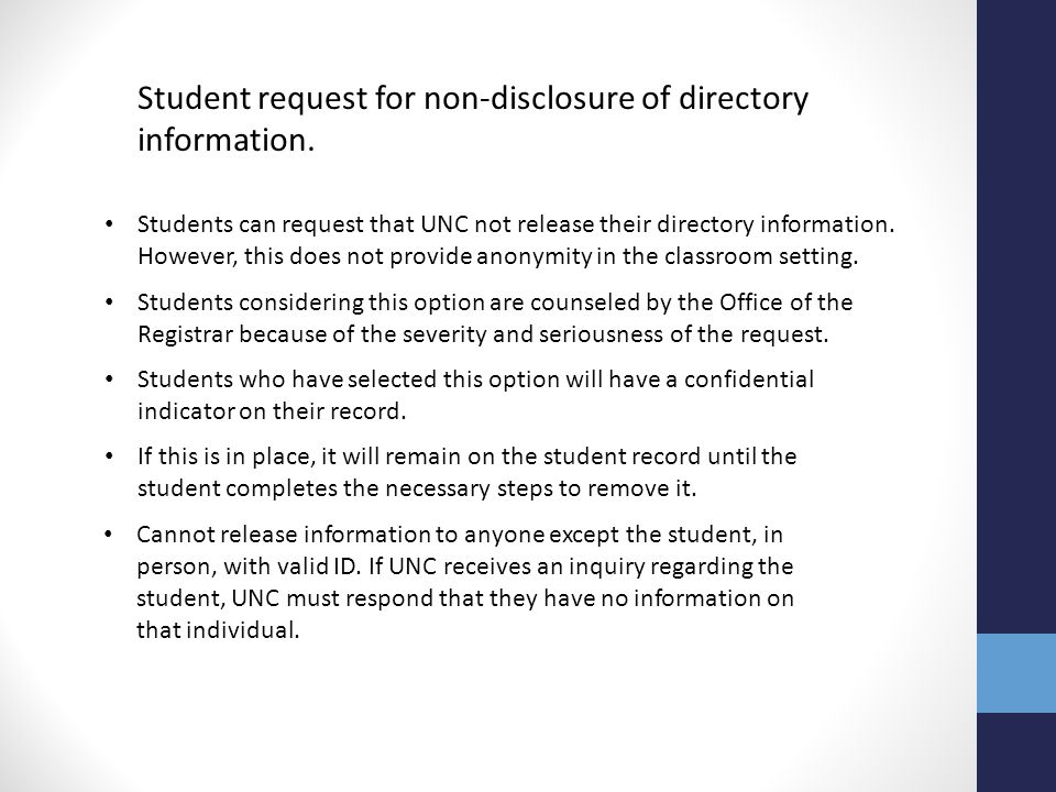 Student request for non-disclosure of directory information.