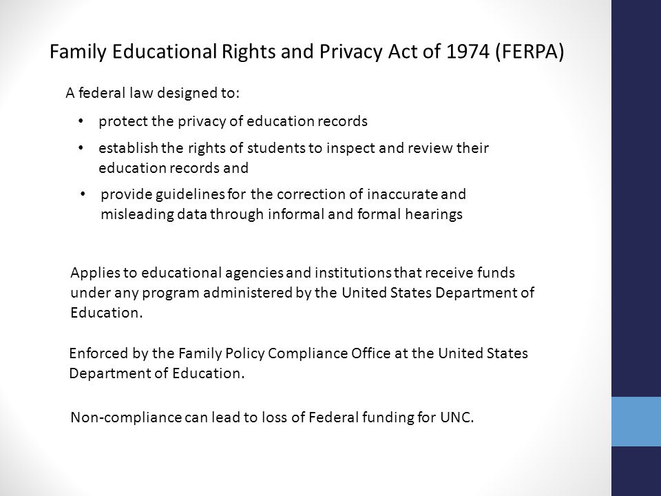 Family Educational Rights and Privacy Act of 1974 (FERPA)