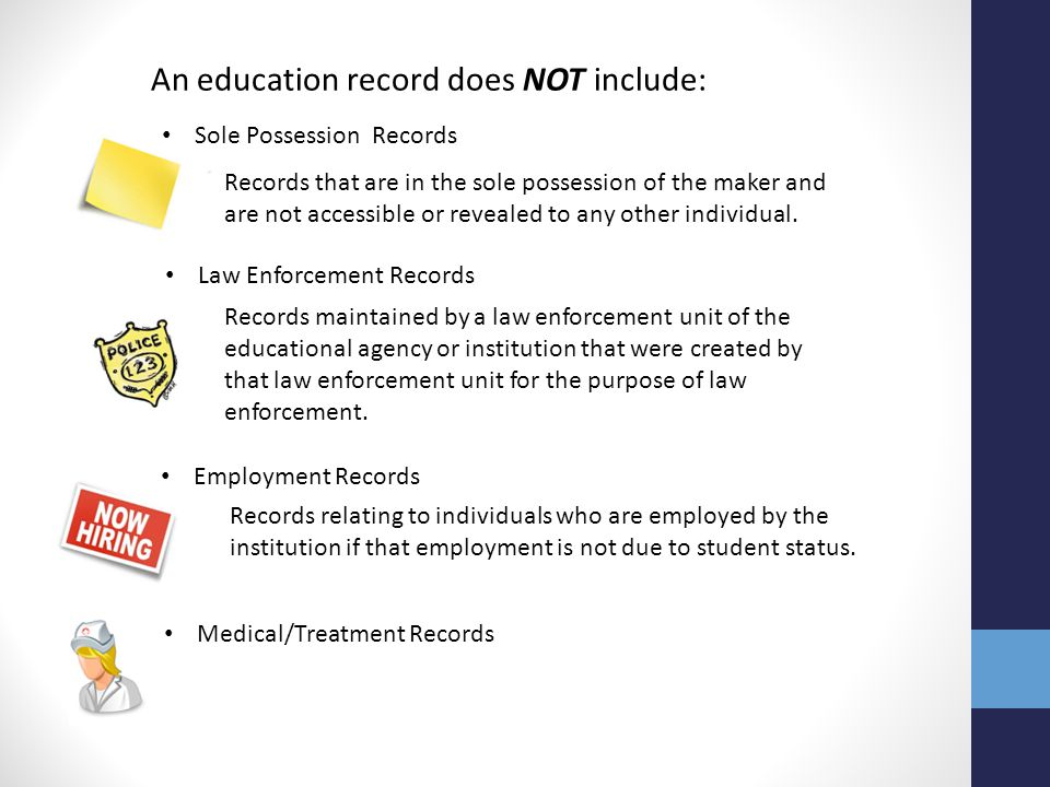 An education record does NOT include: