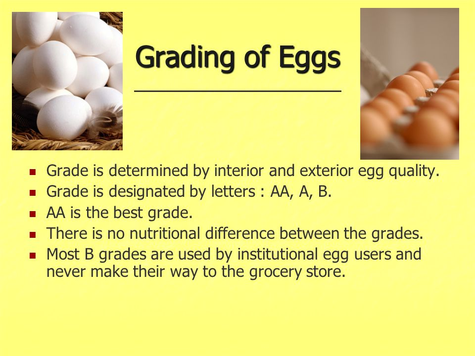 Grading of Eggs Grade is determined by interior and exterior egg quality. Grade is designated by letters : AA, A, B.