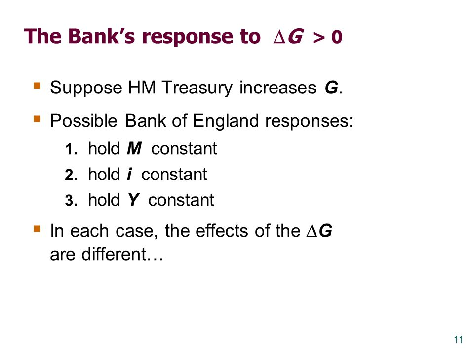 The Bank's response to G > 0