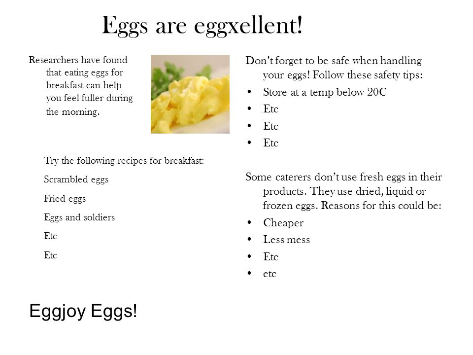 Eggs are eggxellent! Eggjoy Eggs!