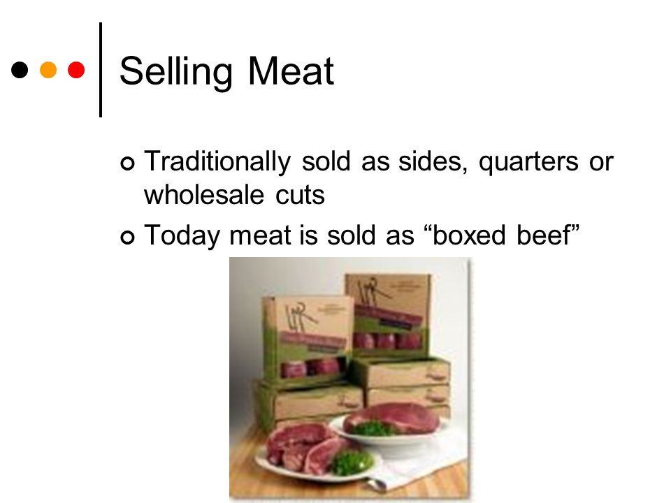 Selling Meat Traditionally sold as sides, quarters or wholesale cuts